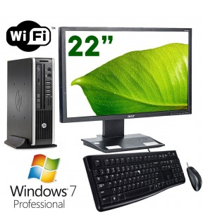 "PC DESKTOP COMPLETO HP MONITOR 22"" G620 RAM 4GB WIFI WINDOWS 7 MOUSE + TASTIERA"