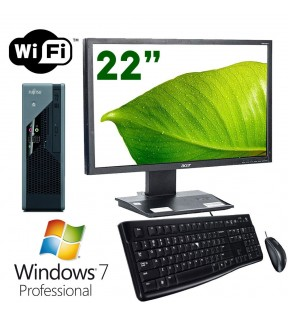 "PC DESKTOP COMPLETO MONITOR 22"" E8400 RAM 4GB WIFI WINDOWS 7 MOUSE + TASTIERA"