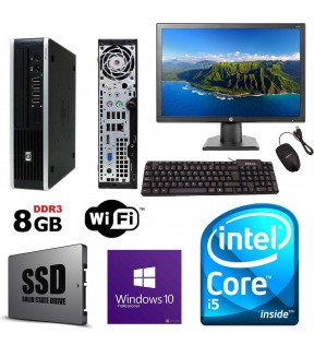 "PC COMPLETO INTEL QUAD CORE I5 HP 8200 USDT RAM 8GB SSD 256GB MONITOR 19"" MOUSE & TASTIERA WI-FI WINDOWS 10"
