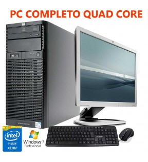 "PC COMPUTER COMPLETO HP PROLIANT ML110 G6 QUAD CORE XEON RAM 4GB MONITOR LCD 19"" WINDOWS 7 PROFESSIONAL MOUSE  E TASTIERA"