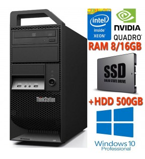 PC WORKSTATION GRAFICA LENOVO E30 XEON QUAD CORE SSD + HDD RAM 8/16GB NVIDIA QUADRO 2000 2GB WINDOWS 7/10 PROFESSIONAL