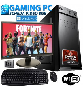 "★ PC COMPUTER GAMING QUAD CORE i5 RAM 8GB SSD 512GB SCHEDA VIDEO 8GB MONITOR 22"" WI-FI WINDOWS 10 PRO"
