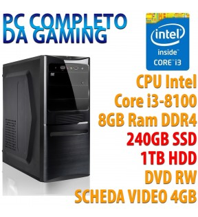 ★ COMPUTER DESKTOP GAMING INTEL QUAD CORE i3-8100/8GB/SSD 240GB/HDD 1TB/DVDRW/VGA 4GB/USB 3.0/HDMI