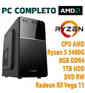 ★ COMPUTER DESKTOP AMD QUAD CORE RYZEN 5 3400G/8GB/1TB/DVD-RW/USB 3.0