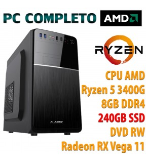 ★ COMPUTER DESKTOP AMD QUAD CORE RYZEN 5 3400G/8GB/SSD 240GB/DVD-RW/USB 3.0