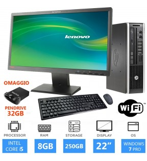 "PC COMPLETO HP 8200 INTEL CORE I5 RAM 8GB MONITOR 22"" WINDOWS 7 PROFESSIONAL"