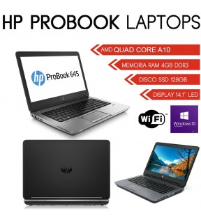"PC NOTEBOOK HP PROBOOK 645 G1 14"" AMD QUAD CORE A10 Radeon HD 8650G DISCO SSD HD7420G DISPLAY PORT WINDOWS 10 PROFESSIONAL"