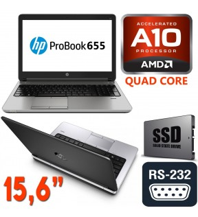 "PC PORTATILE HP PROBOOK 655 G1 15.6"" QUAD CORE A10 RAM 4GB SSD 128GB HD8650G PORTA SERIALE RS232 WINDOWS 7/10 PRO"