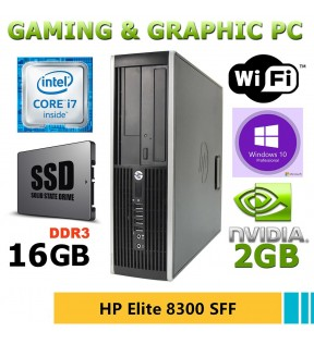 PC GAMING / GRAFICA HP ELITE 8300 SFF QUAD CORE i7 SSD 250GB SCHEDA VIDEO NVIDIA GEFORCE GT710 2GB RAM 8GB WI-FI WINDOWS 10 PRO