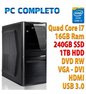 COMPUTER DESKTOP INTEL QUAD CORE i7-7700K/16GB/SSD 240GB/1TB/DVDRW/USB 3.0
