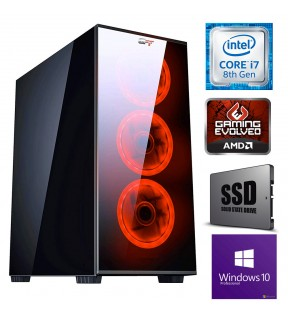 Computer Gaming Assemblato Vetro LED Intel Core i7-8700 Ram 16GB SSD 240GB Hard Disk 1TB SCHEDA VIDEO 8GB