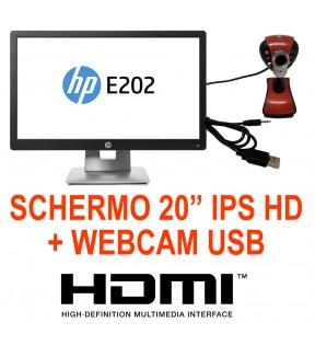 """MONITOR RICONDIZIONATO LCD HP Elitedisplay E202 20"""" 16:9 + WEBCAM 24MPX"""